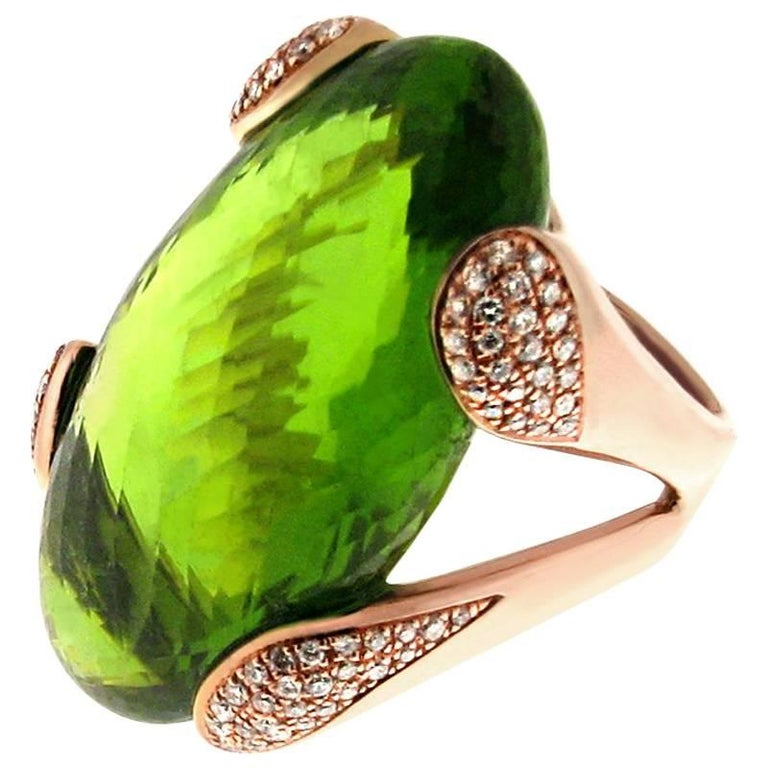 Gavello Rose Gold Stunning Peridot Contemporary Cocktail Ring