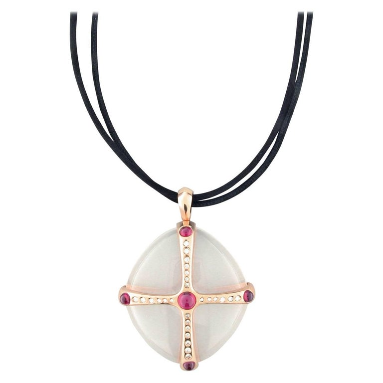 Gavello Rose Gold Diamond, Ruby and Rock Crystal Contemporary Pendant
