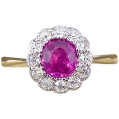 Antique Ruby and Diamond Engagement Cluster Ring in 18 Carat Gold and Platinum