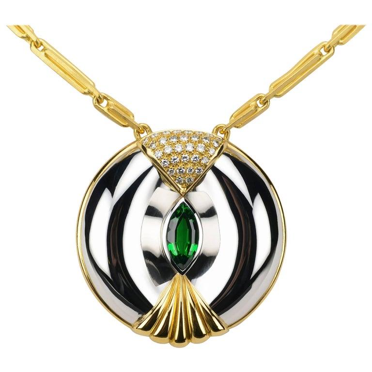 Modernist Inspired Kenyan Tsavorite Garnet Choker Necklace in Platinum and Gold