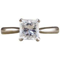 Princess Cut 1 Carat Diamond Solitaire Ring Set in 18 Carat White Gold