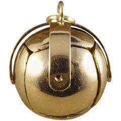 Vintage Masonic Ball Folding Orb Gold and Silver Pendant