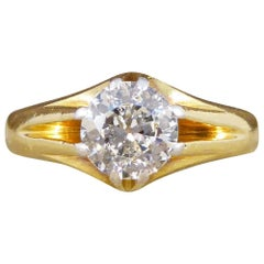 Late Victorian Gypsy Set Diamond Ring in Platinum and 18 Carat Gold