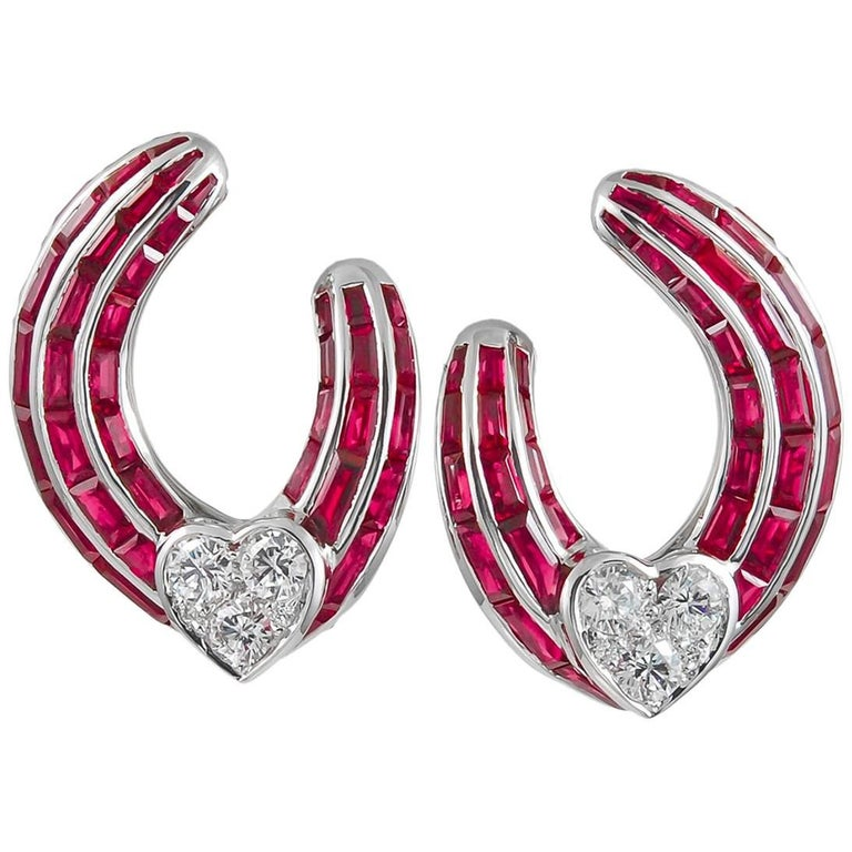 Graff Diamond and Ruby Ear Clips