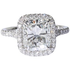 3 Carat Cushion Cut Engagement Ring GIA Certified