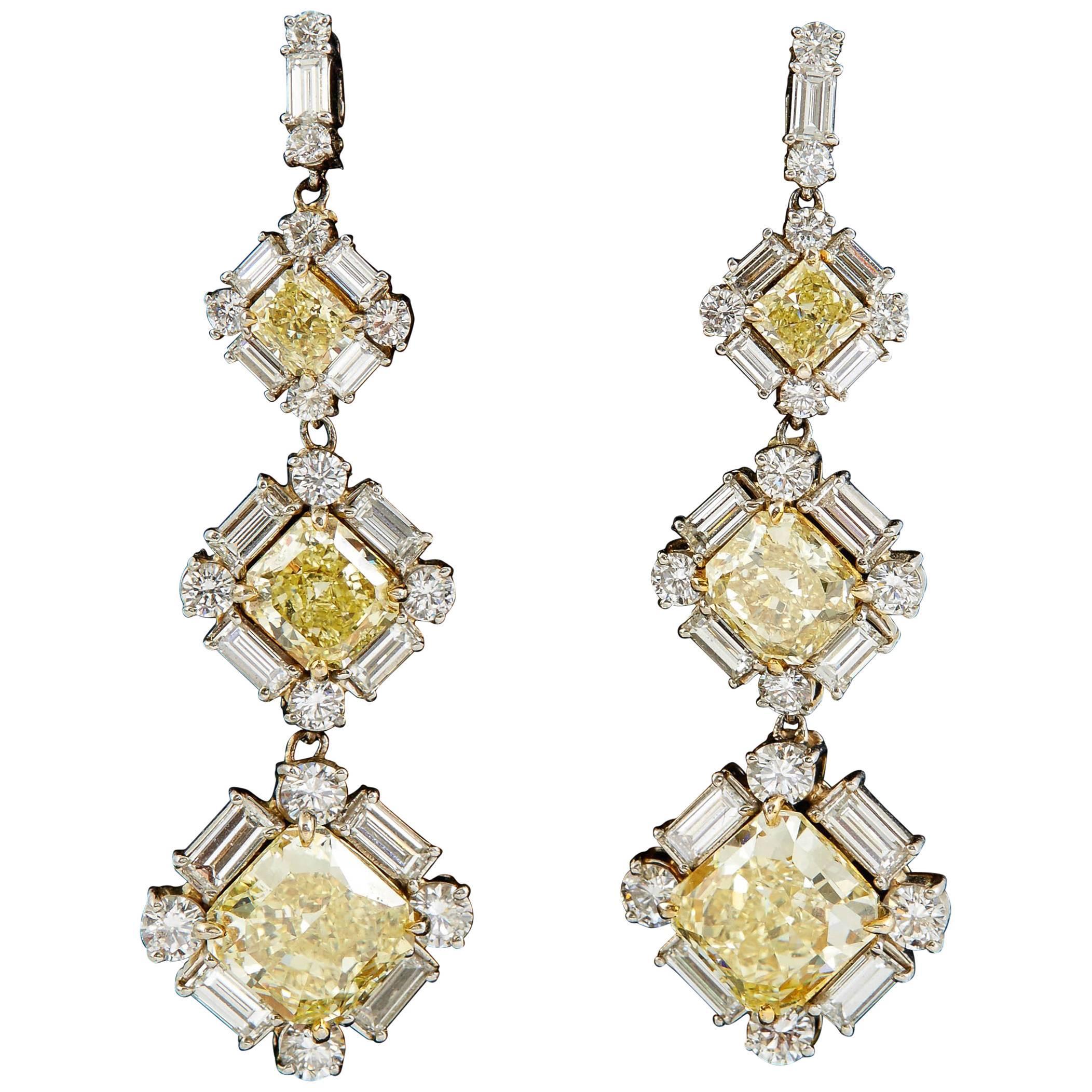 GIA Certified Natural Fancy Yellow and White Diamonds Drop Earrings