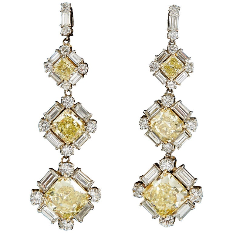 GIA Certified Natural Fancy Yellow and White Diamonds Drop Earrings