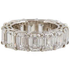 GIA Certified Emerald Cut Diamonds Eternity Wedding Band