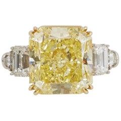 GIA Certified 15.37 Carat Natural Fancy Intense Yellow Diamond Ring