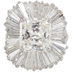 Stunning 5.13 + 6.00 Carat GIA Certified Diamond Platinum Ballerina Ring