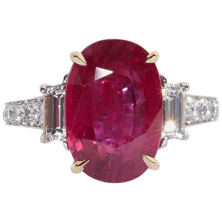 6 Carat Burma Ruby and Diamond Ring