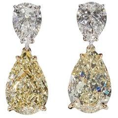 GIA Yellow and White Diamond Earrings