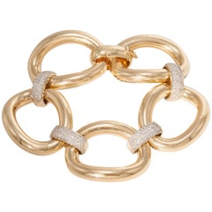 Five Oval Yellow Gold Link with Diamond Bars Bracelet
