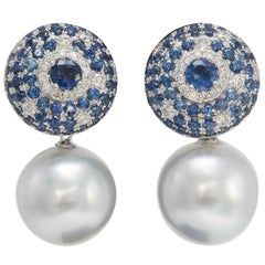 South Sea Pearl with Sapphire and Diamond Drop Earrings 5.53 Carats 18K