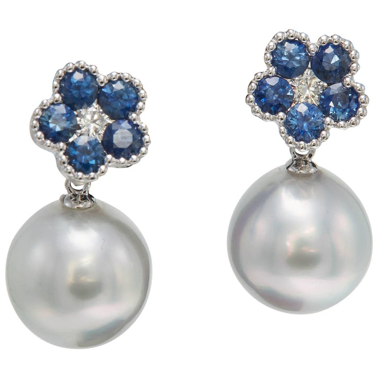 Sapphire Flower and Diamond and South Sea Pearl Drop Earrings