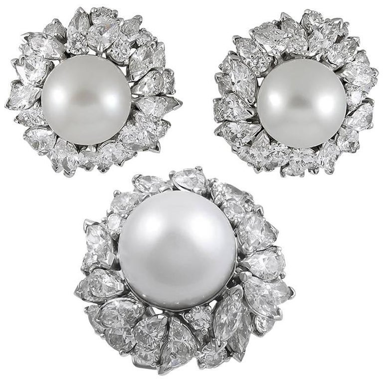 Platinum South Sea Pearl and Diamond Earrings Suite