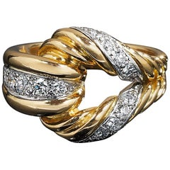 Diamonds and 18 Karat Ring, Decorated and Designed with a Buckle, Mauboussin