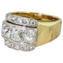 Art Deco 2.00 Carat Old Cut and Rose Cut Diamond Trilogy Ring