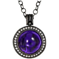 Alex Soldier Japanese Amethyst Topaz Oxidized Silver Pendant Necklace on Chain