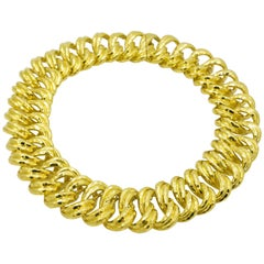 Henry Dunay Wide Faceted Gold Curb Link Necklace