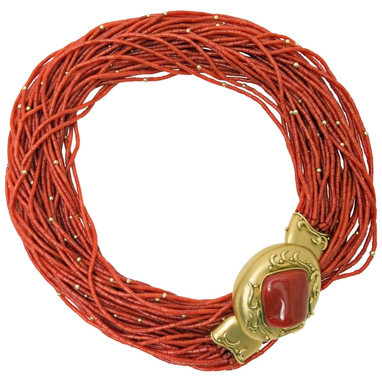 1970s Natural Red Coral  Gold Opera Length Necklace