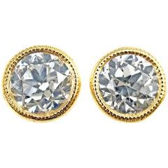 Old European Cut 1.43 Carat GIA Certified Diamond 18 Karat Gold Stud Earrings