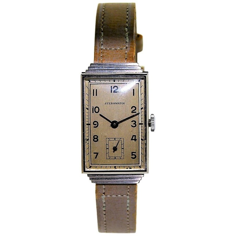 Sternwatch Stainless Steel Art Deco New Old Stock Manual Wind Watch, 1930s For Sale