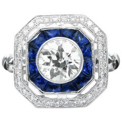 Old European Cut Diamond Sapphire White Gold Dinner Ring