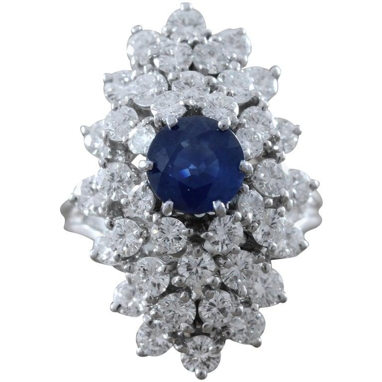 Sapphire Diamond Cluster Platinum Ring
