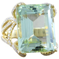 Green Aquamarine Diamond Gold Ring