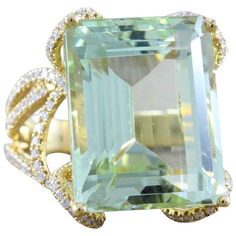 Green Aquamarine Diamond Gold Ring
