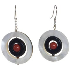 Coral, Black Onyx, Mother-of-Pearl Earrings with 14 Karat Gold Chain and Hook