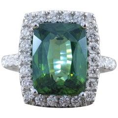 Green Zircon Diamond Gold Ring