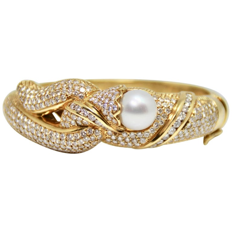 1980s Pearl and Diamond Hinged Gold Bangle