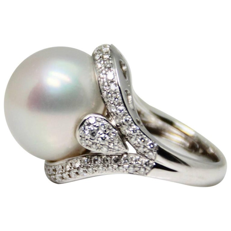 Large South Sea Pearl and Diamond Cocktail Ring
