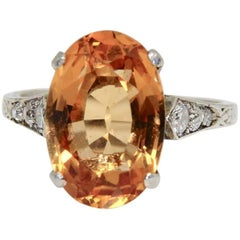 1940s 8 Carat Brazilian 'Imperial' Topaz and Diamond Ring