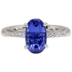 3.52 Carat Tanzanite and Diamond Ring