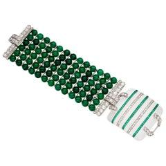 Platinum Art Deco Diamond Rock Crystal Chalcedony Bracelet