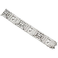 Signed Boucheron Paris Platinum Diamond Panel Bracelet