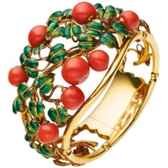 Yellow Gold Natural Coral Enamel Cuff