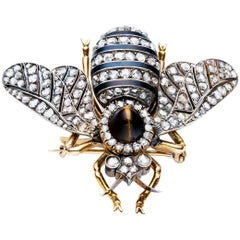 Victorian Rose Gold Silver Diamond Enamel Tiger's Eye Bee Brooch