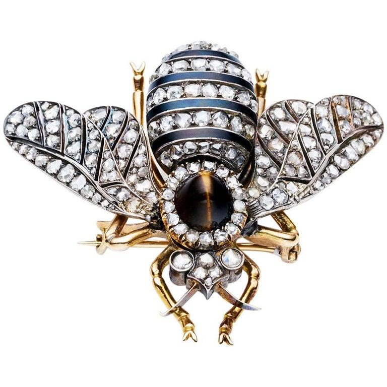 Victorian Rose Gold Silver Diamond Enamel Tiger's Eye Bee Brooch