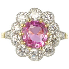 French 2.25 Carat Pink Sapphire 1.77 Carat Diamond Platinum Gold Cluster Ring