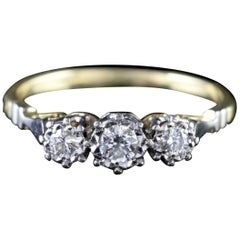 Antique Edwardian Diamond Trilogy Ring 18 Carat Gold Platinum, circa 1910