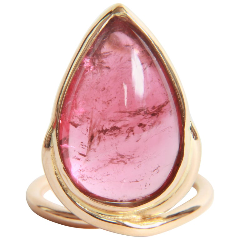 Pink Tourmaline Cabochon Ring by Marion Jeantet