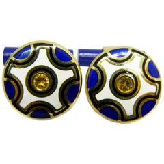 Natural Yellow Sapphire Hand Enameled Lapis Stick Back Yellow Gold Cufflinks