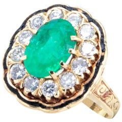 Vintage Emerald and Diamond Cluster Cocktail Ring