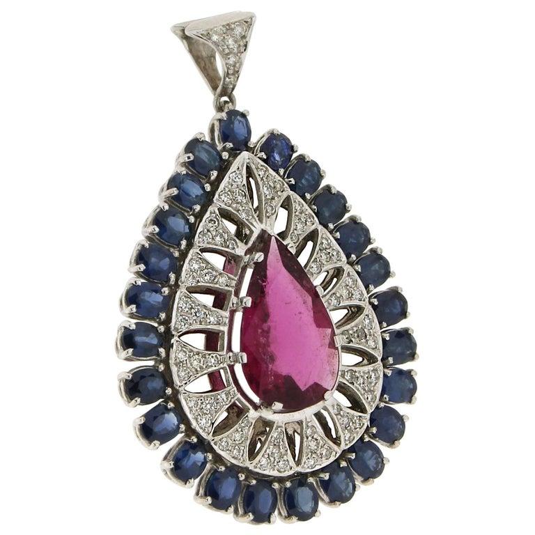 Rubelite White Gold Diamonds Sapphires Pendant Necklace