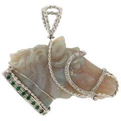 Opal Horse White Gold Diamonds Emeralds Pendant Necklace