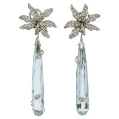 Brazilian Aquamarine White Gold Drop Earrings